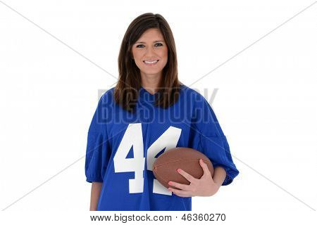 Adult womanl set against a white background with football