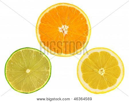 Slices of ripe orange, lemon, lime on white