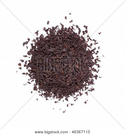 The pile of the dry tea leaves.