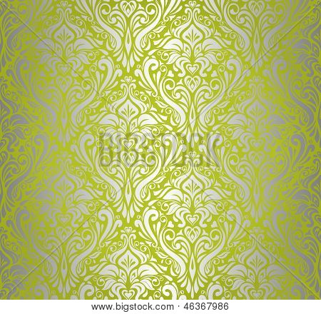 Green & Silver Vintage Wallpaper Design 2