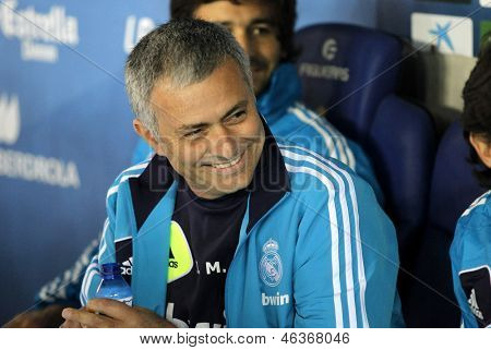 BARCELONA - MAY, 11: Jose Mourinho of Real Madrid during the Spanish League match between Espanyol and Real Madrid at the Estadi Cornella on May 11, 2013 in Barcelona, Spain