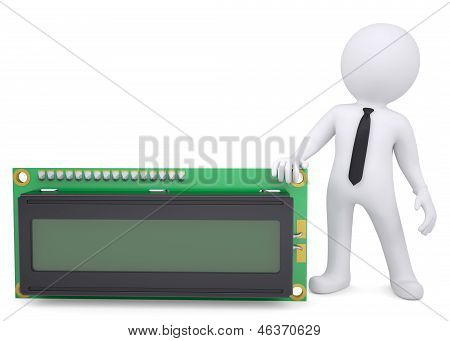 3d white man holding a liquid crystal display