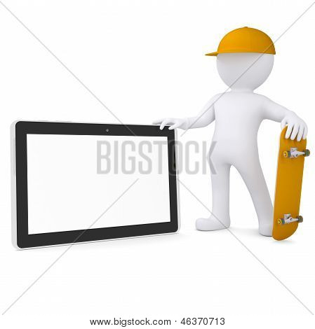 3d white man holding a skateboard and a tablet PC