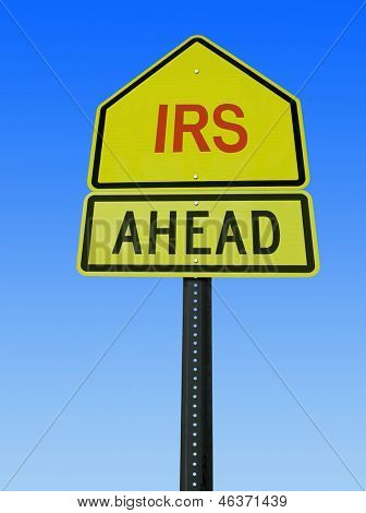 irs ahead conceptual road sign over sky