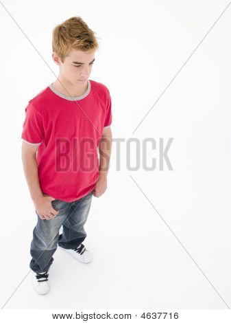 Teenage Boy Looking Down