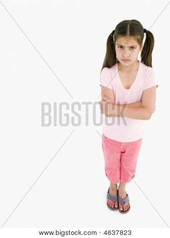 Young Girl With Arms Crossed Angry