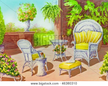 Patio With Two Wicker Chairs