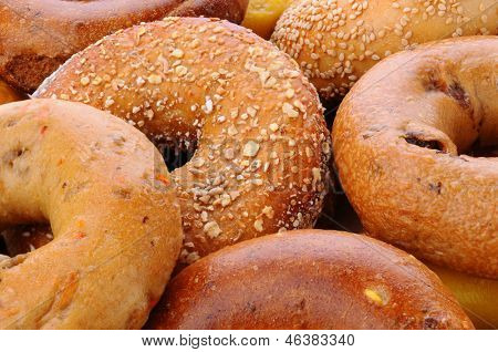 Closeup of assorted bagels, including sesame seed, egg bagel, mulit-grain, cinnamon raisin and plain.