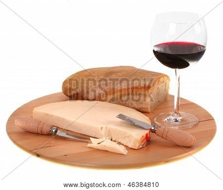 Italian Spicy Provolone Cheese With Red Wine And Bread
