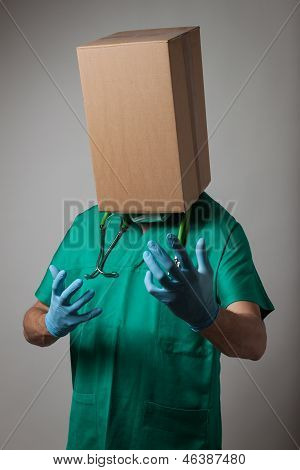Doctor With Cardboard Box Head