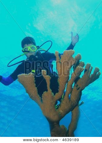 Young Male Scuba Diver Behind Coral