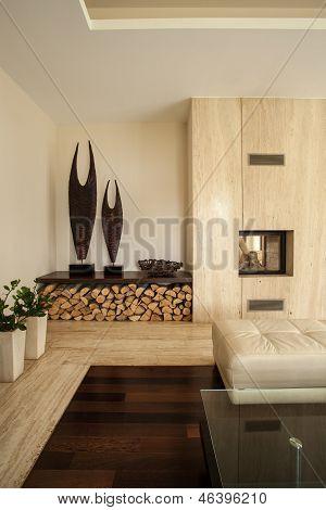 Travertine House: Details In Living Room