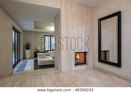 Travertine House: Entrance To Living Room
