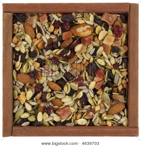 Trail Mix With Nuts, Berries And Seeds In A Wooden Box