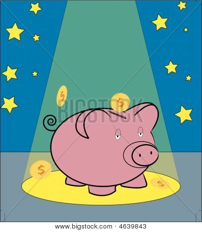 Piggy Bank With Coins In Spotlight.