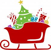 picture of santa sleigh  - Illustration of Christmas Santa Sleigh with Gifts Stencil - JPG