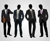 foto of character traits  - Vector illustration of a four businessman silhouettes - JPG