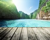 picture of rocking  - rock of Phi Phi island in Thailand and wooden platform - JPG
