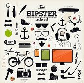 Hipster style infographics elements and icons set for retro design. With bicycle, sunglasses, mustache, bow, anchors, apple and camera. Vector illustration. poster