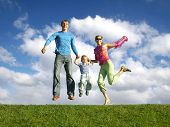 picture of bobbies  - fly happy family on blue sky with clouds - JPG