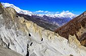 pic of sherpa  - Mountain trekkers walking in the mountains with white peaks background Himalayas Nepal - JPG
