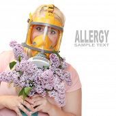 image of respirator  - Allergy to pollen concept - JPG