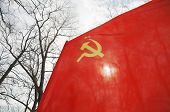 foto of hammer sickle  - soviet union red flag with yellow sikle hammer and star flying - JPG