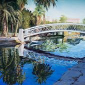 picture of trestle bridge  - A white trestle bridge spans a canal in Venice CA in an acrylic painting - JPG