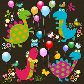 dinos card, happy cute colorful dinosaurs