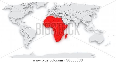 Map of the world. Africa. 3d