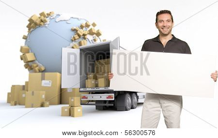 Man holding a blank sign, in an international transportation context, ideal for inserting your own message