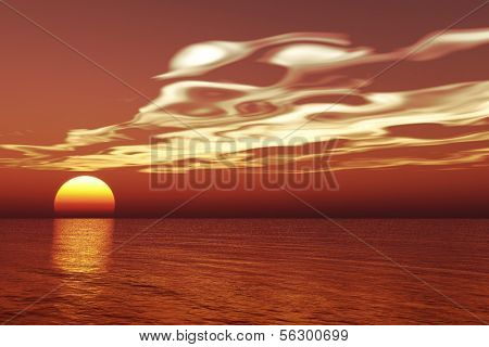 Beautiful sea and sky at sunset - digital artwork