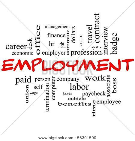 Employment Word Cloud Concept In Red Caps