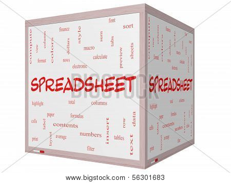 Spreadsheet Word Cloud Concept On A 3D Cube Whiteboard