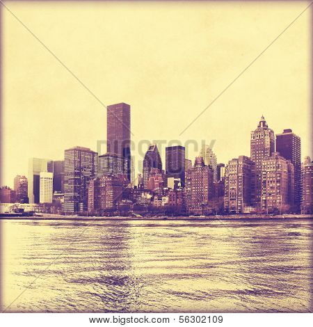 New York City skyline in grunge and retro style.