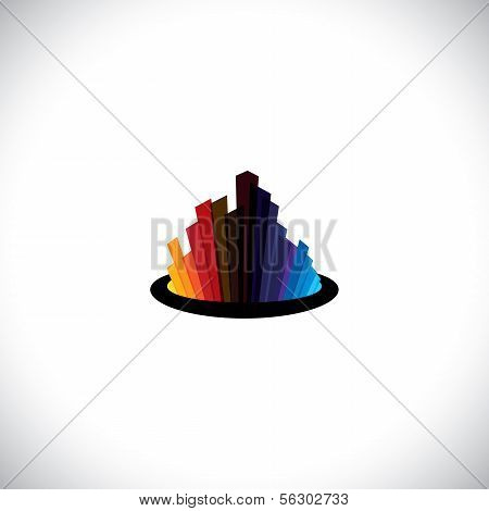 City Downtown Icon Or Skyline Of Tall Commercial Buildings - Vector Graphic