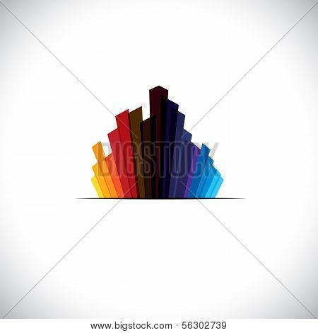 Urban City Icon Or Skyscrapers Of Tall Commercial Buildings - Vector Graphic
