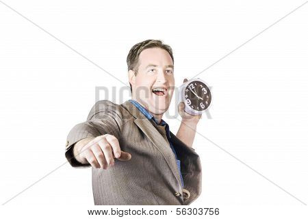 Man Throwing Time Out Window With Chucking Clock