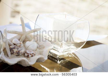 wedding decoration starfish, tropical wedding ceremony details