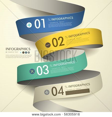 3D Paper Abstract Flow Chart Infographics