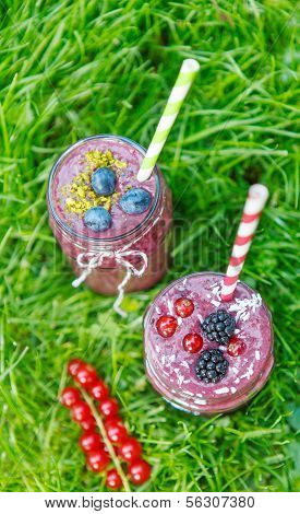 Fresh Smoothie Drink With Different Berries As Healthy Breakfast