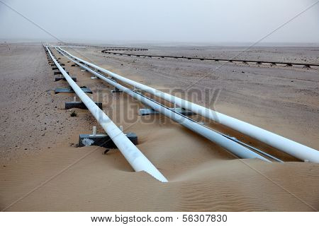 Oil Pipeline In The Desert Of Qatar
