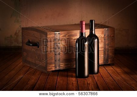 Wooden Case And Bottles