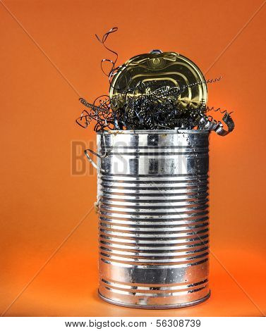Old Tin Can Full Of Swarf