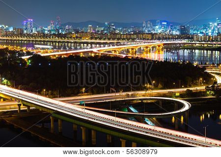 Seoul highway at night