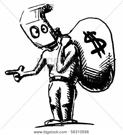Robber in a mask and with money bag