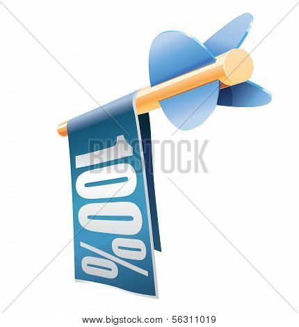 Wooden arrow with banner and text 100%