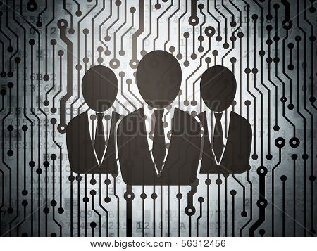Finance concept: circuit board with Business People