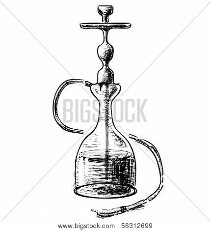 Hookah on white background