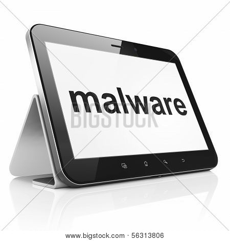 Protection concept: Malware on tablet pc computer